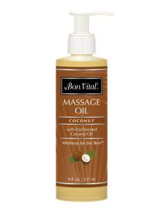 Bon Vital' Coconut Massage Oil - 8 fl oz bottle w/ pump